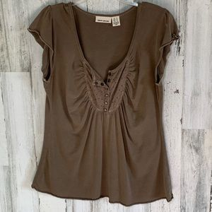 DKNY Snap Front Lace Scoop Neck Light Brown Top